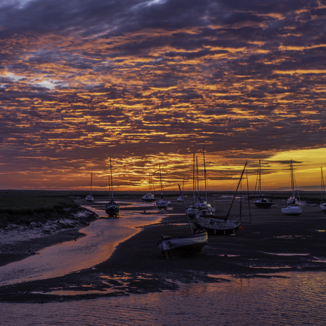 """Dawn over Wells-next-the-sea, Norfolk coast"" stock image"