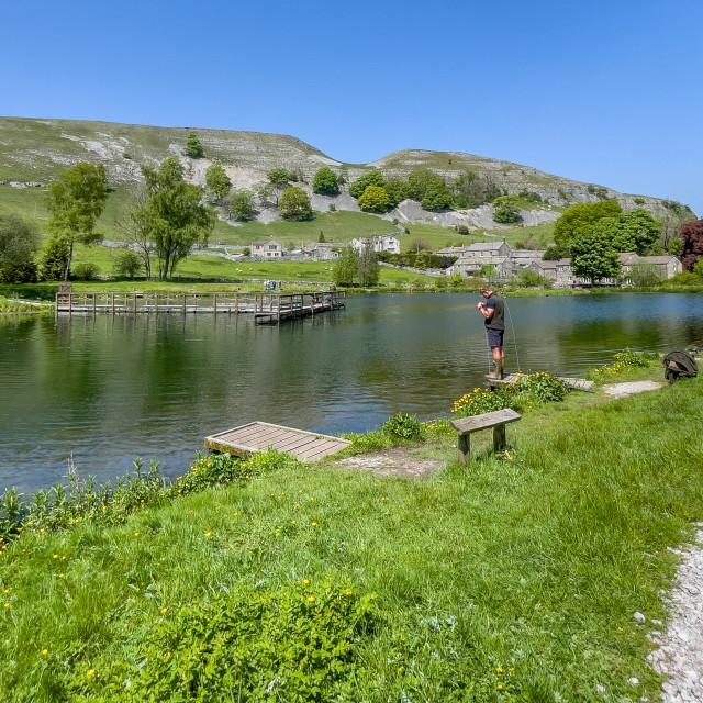 """Kilnsey Park Fishing Lake, Yorkshire Dales."" stock image"