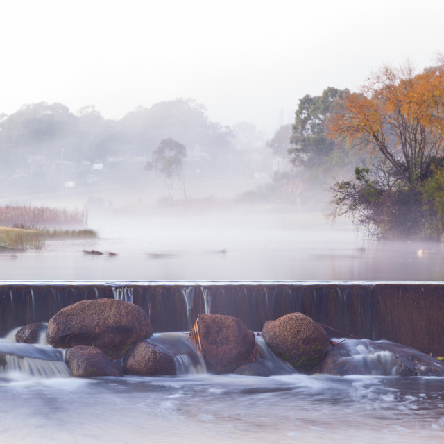 """""""River water fall in autumn"""" stock image"""