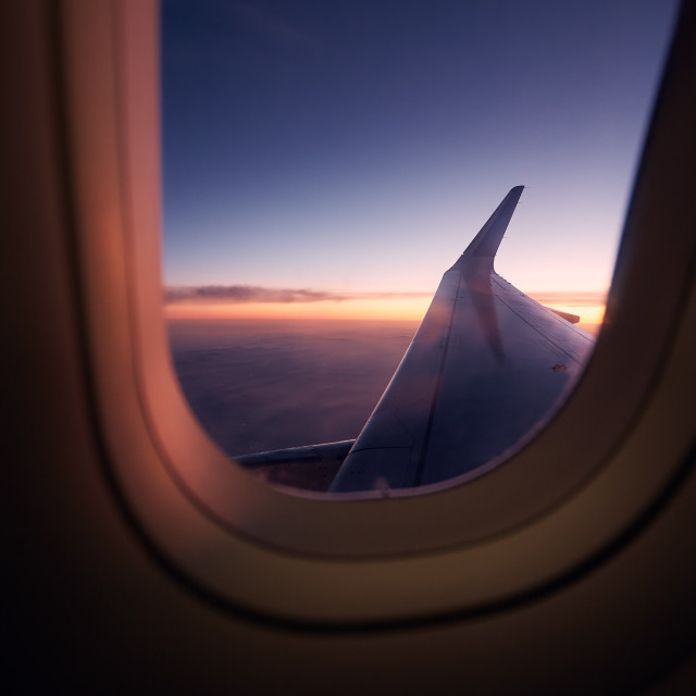 """""""Beautiful view out of airplane window during flight"""" stock image"""