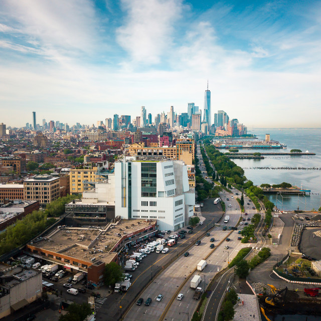 """""""Manhattan and New York skyline by the Hudson river aerial view"""" stock image"""