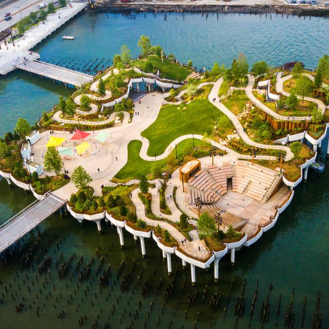 """Little Island park at Pier 55 in New York new landmark of the city"" stock image"