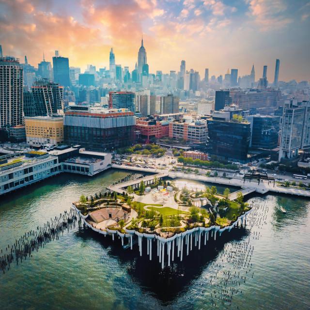 """Little Island park at Pier 55 in New York new landmark of the ci"" stock image"