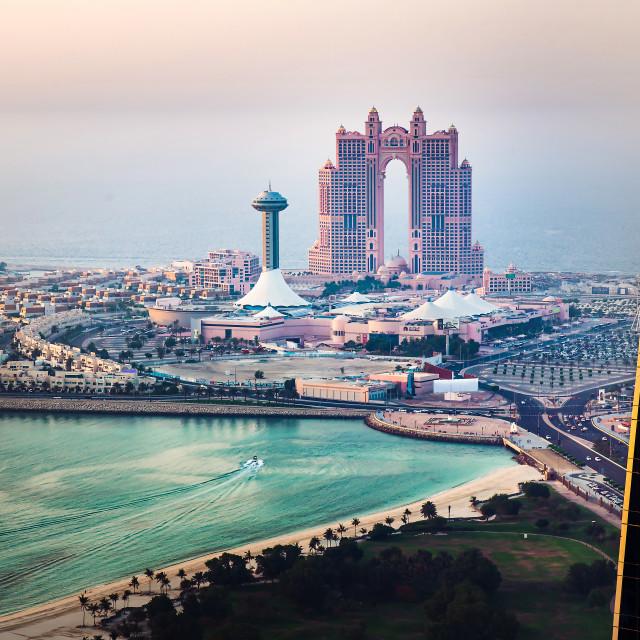 """Al Marina island in downtown Abu Dhabi in the UAE at sunset"" stock image"