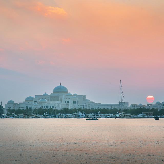 """""""UAE Presidential Palace in Abu Dhabi , United Arab Emirates at s"""" stock image"""