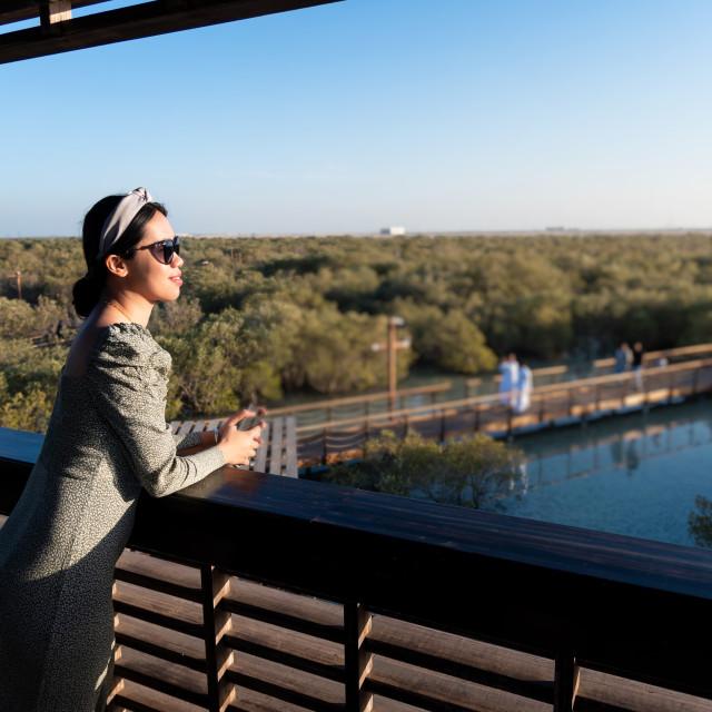 """Woman visiting Mangrove walk public park in Jubail island Abu Dh"" stock image"