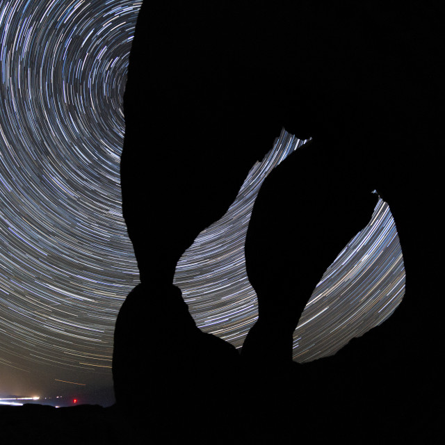 """""""Star trails at Cyclops arch"""" stock image"""