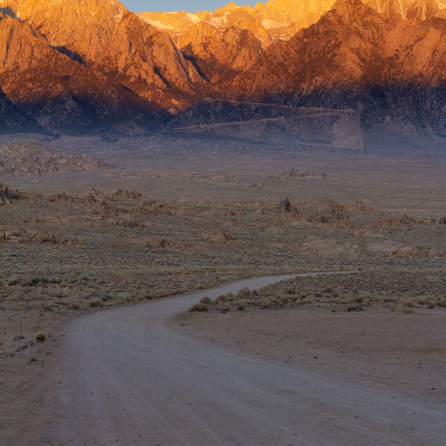 """First light hitting the Sierra Nevadas"" stock image"
