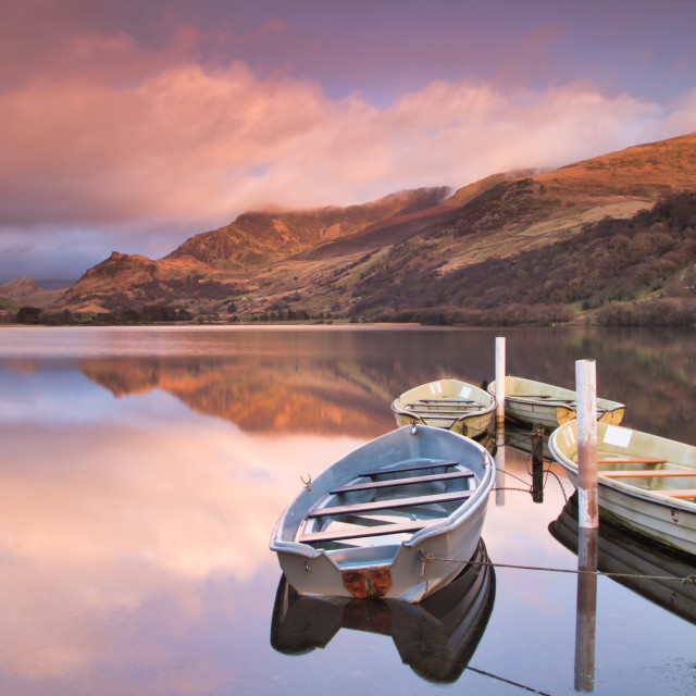 """Llyn Nantlle boats"" stock image"