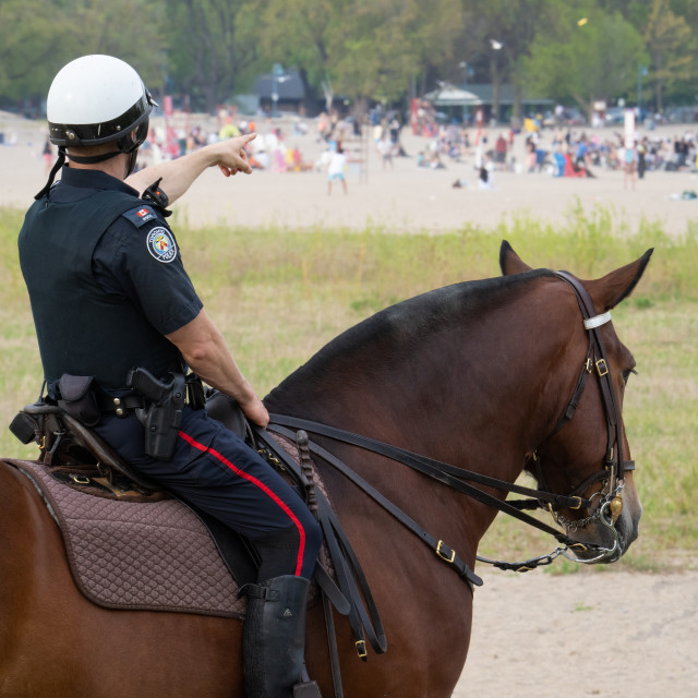 """""""Mounted police officer points at crowded Woodbine Beach, Toronto, during stay-at-home order"""" stock image"""