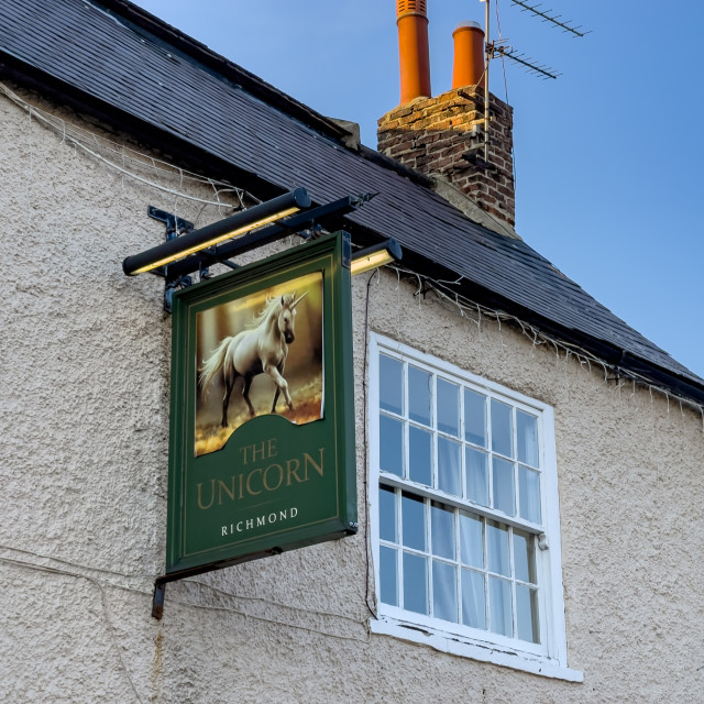 """Hanging Sign, The Unicorn Inn, Richmond, Yorkshire."" stock image"