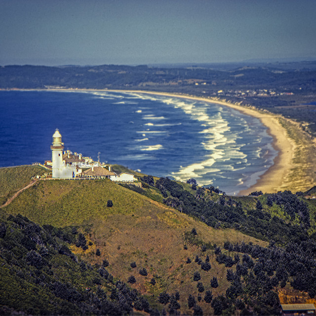 """""""Byron Bay lighthouse, aerial"""" stock image"""