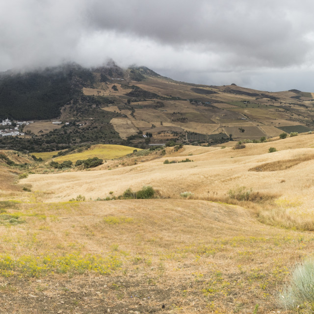 """Scenic landscape, mountains of Serrania de Ronda, with view on Montecorto village, Andalusia, Spain."" stock image"