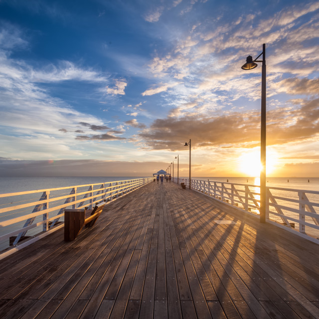 """""""Sunrise over the Shorncliffe Pier"""" stock image"""