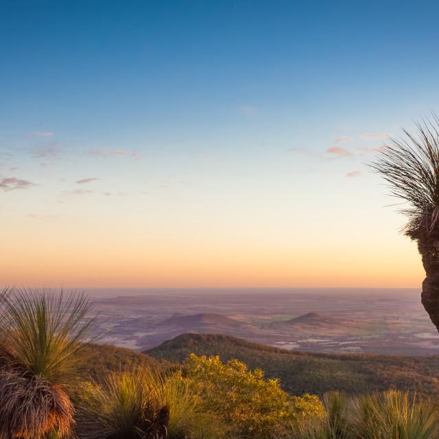 """Sunset over land, Bunya mountains"" stock image"