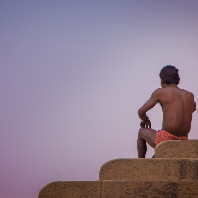 """""""Man looking over the Ganges"""" stock image"""