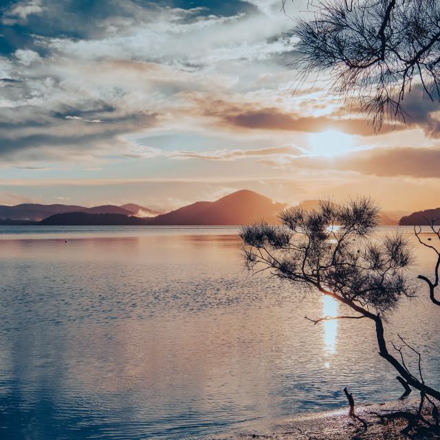 """""""Sunset over Wallis Lake // Booti Booti National Park, Great Lake"""" stock image"""