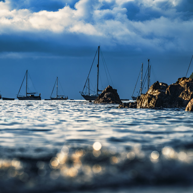 """""""Sunrise from Cawsand Bay, Cornwall UK."""" stock image"""