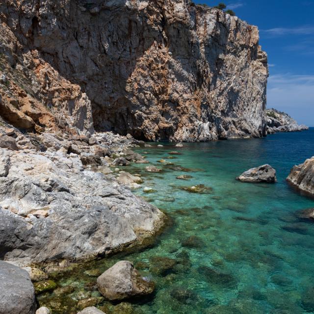 """""""Beautiful seascape in Spanish Costa Brava near small town L Esta"""" stock image"""