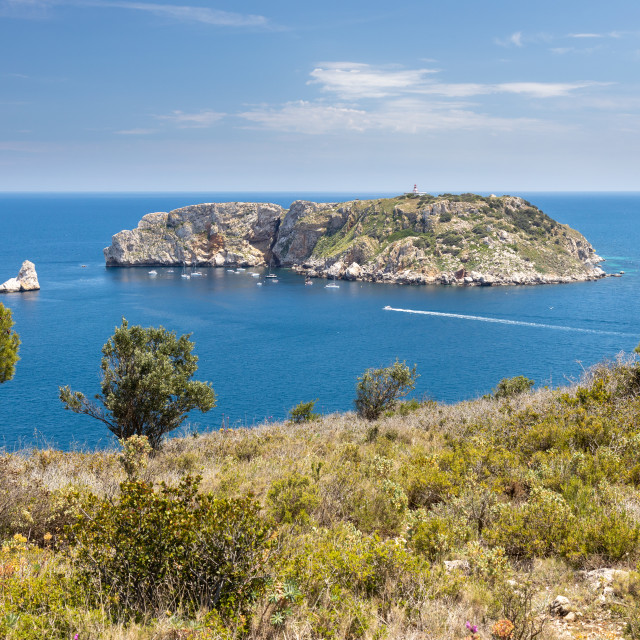 """Beautiful seascape in Spanish Costa Brava near small town L Estartit. Islands Medas."" stock image"