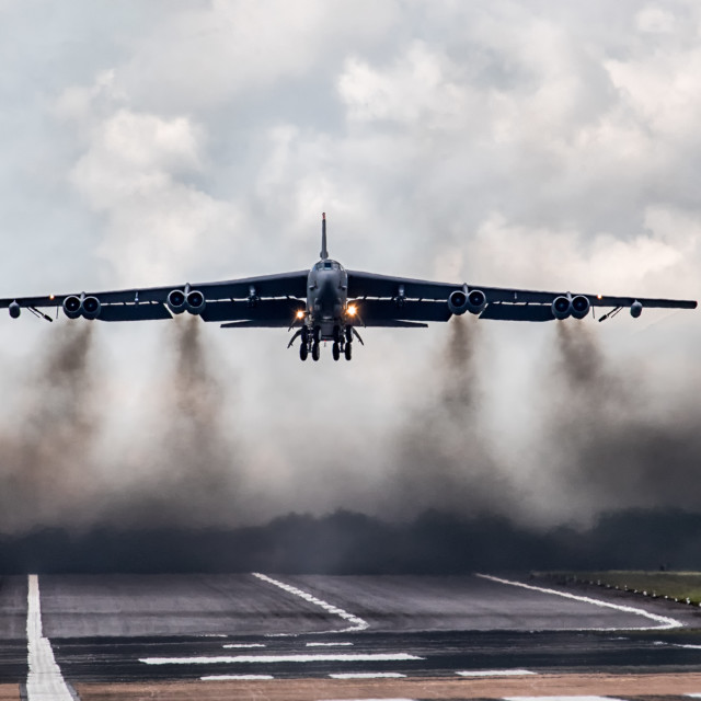 """""""B-52 Takes off from RAF Fairford"""" stock image"""