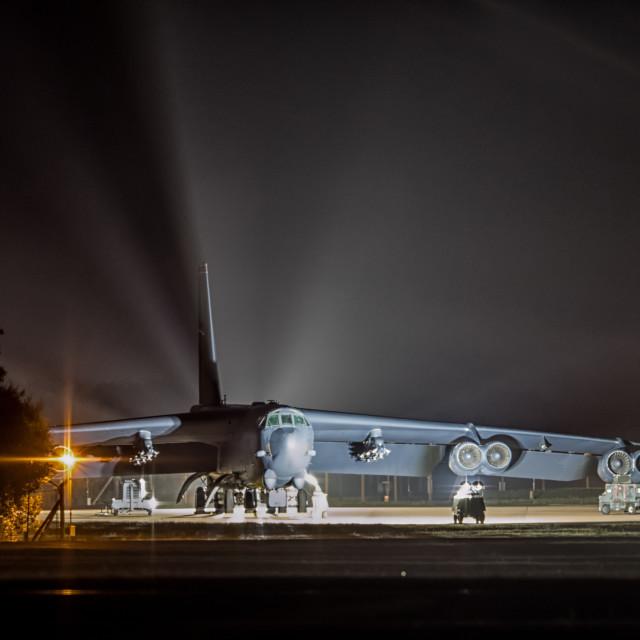 """B-52 at night - RAF Fairford"" stock image"