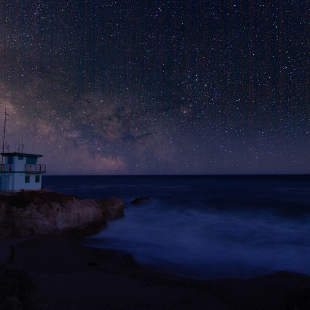 """""""Milky wave over a lifeguard station in Malibu"""" stock image"""