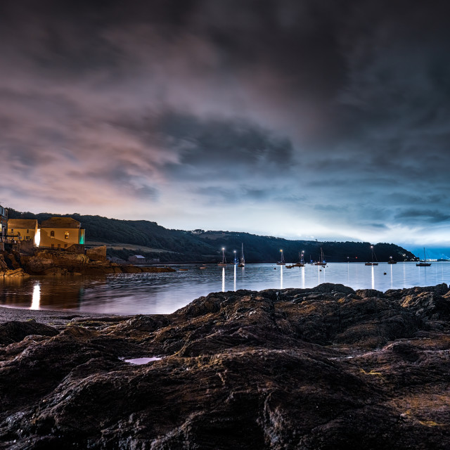 """""""Blue hour from Cawsand Bay, Cornwall UK."""" stock image"""
