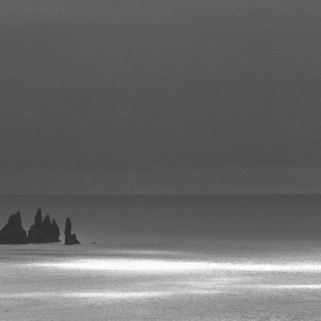 """Reynisdrangar seen from Dyrhólaey cliffs. BnW photograph."" stock image"
