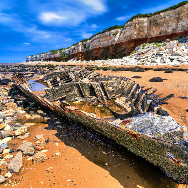 """The Wreck Of The Steam Trawler Sheraton, Hunstanton UK."" stock image"
