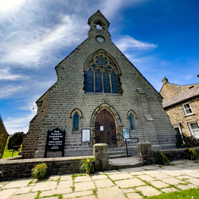 """""""Evangelical Congregational Church, Reeth, Swaledale."""" stock image"""