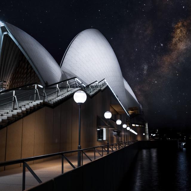 """Milkyway over Opera house"" stock image"