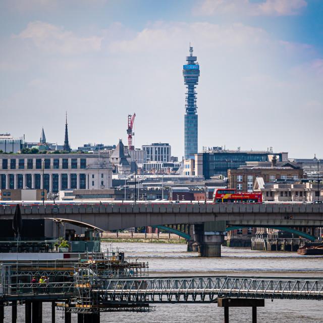 """View across River Thames, London, UK"" stock image"
