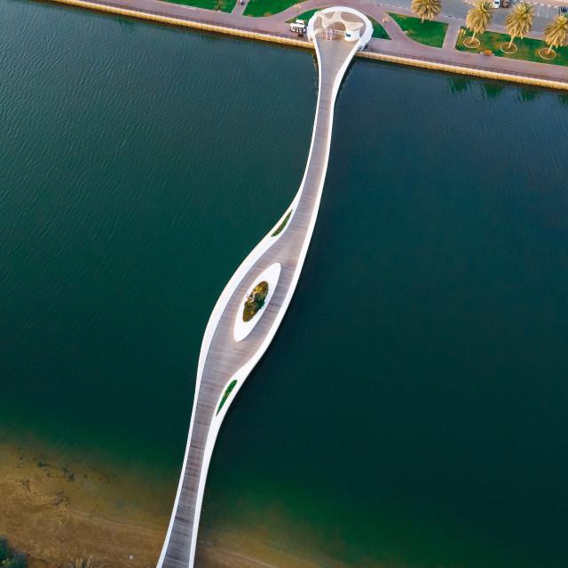 """Aerial view of Al Noor island in Khalid lake at downtown Sharjah"" stock image"