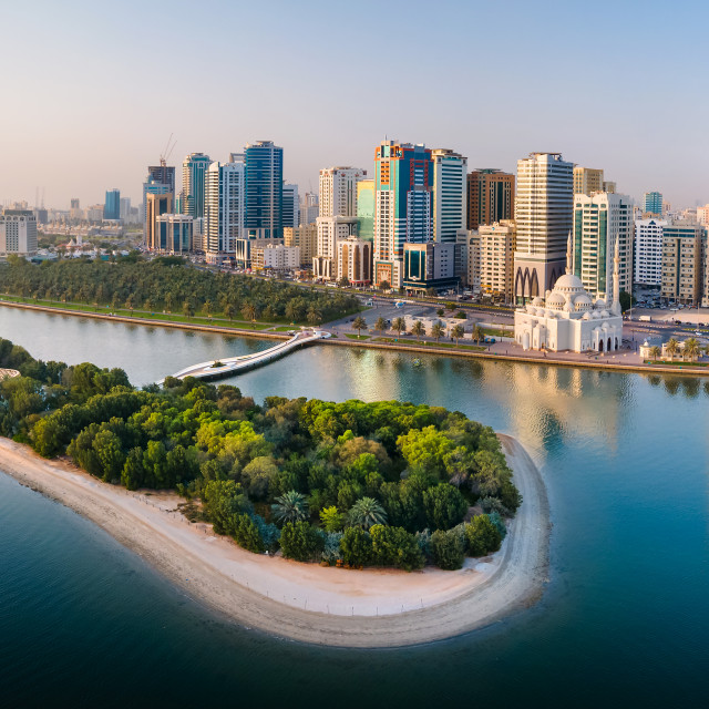 """""""Sharjah aerial panorama above Al Noor island and mosque and down"""" stock image"""