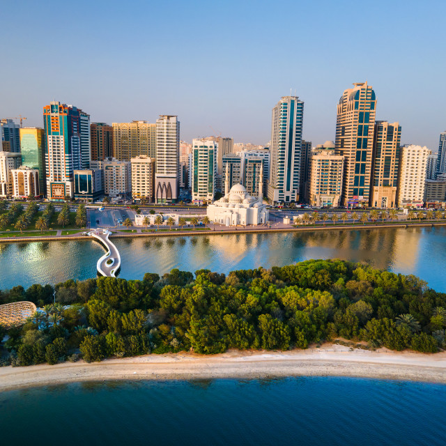 """""""Sharjah aerial view above Al Noor island and mosque and downtown"""" stock image"""