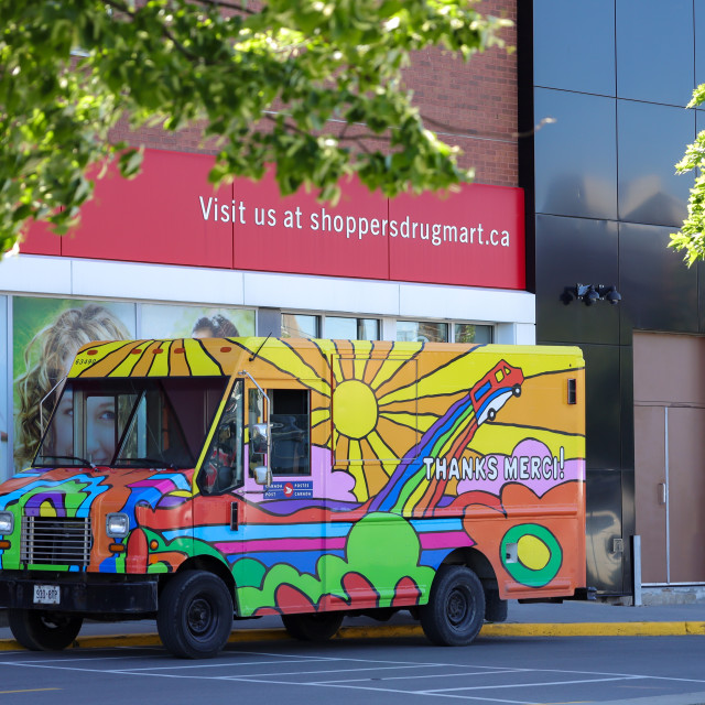 """""""Canada Post delivery van with cheerful design"""" stock image"""