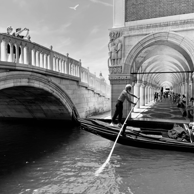 """""""Tourists enjoy a summer day in Venice."""" stock image"""