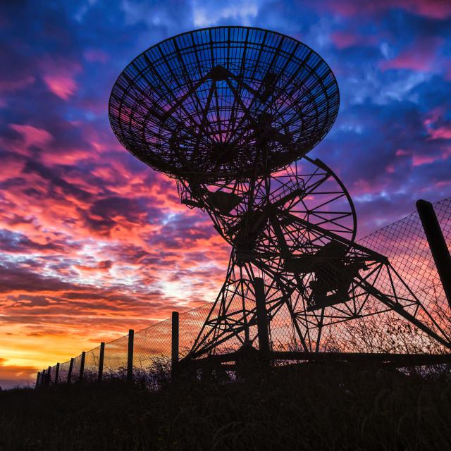 """Sunset from Mullard Radio Astronomy Observatory (MRAO), Lords Bridge Barton Cambridge UK."" stock image"