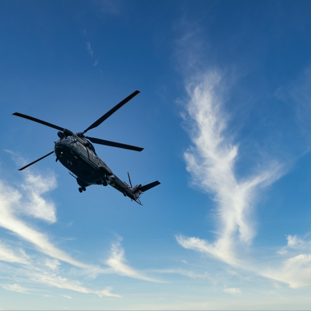 """""""RAF Puma Helicopter flypast"""" stock image"""