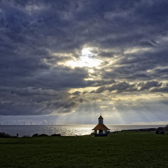 """""""Winter Sunset, Frinton-on-Sea"""" stock image"""