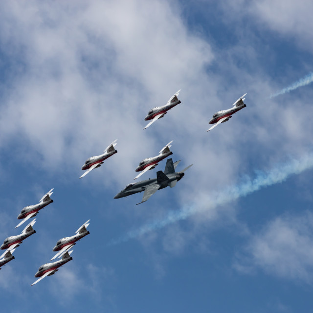 """""""RCAF Snowbirds fly with CF-18 demo jet on Canada Day"""" stock image"""