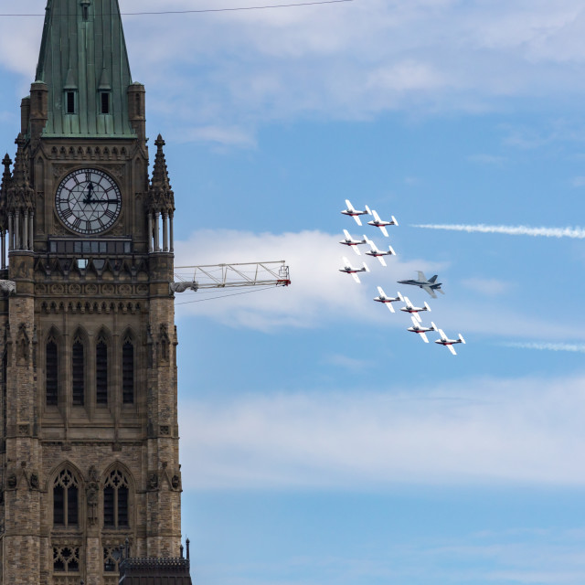 """""""Snowbirds and CF-18 demo fly by Peace Tower on Canada Day"""" stock image"""
