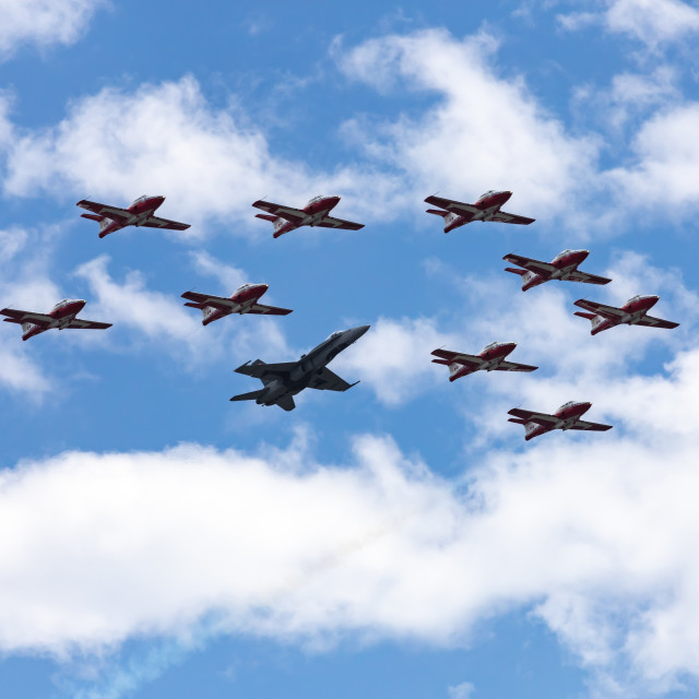 """""""Snowbirds and CF-18 jet fly in formation on Canada Day"""" stock image"""