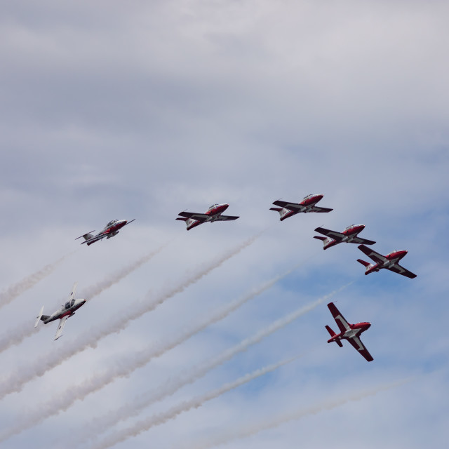 """""""Canadian Forces Snowbirds fly on Canada Day"""" stock image"""
