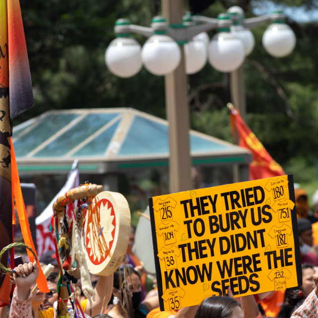 """""""""""We're the Seeds"""": Cancel Canada Day protest sign."""" stock image"""