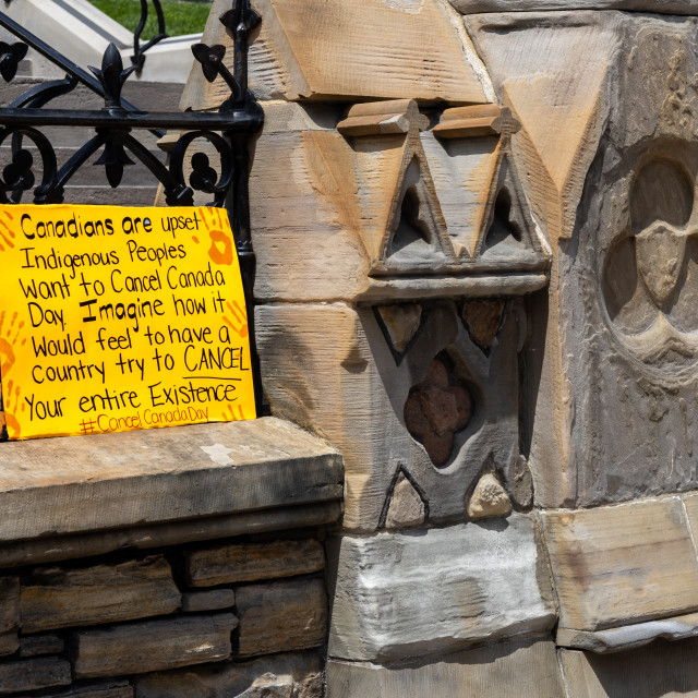 """""""Cancel Canada Day sign at Parliament Hill"""" stock image"""