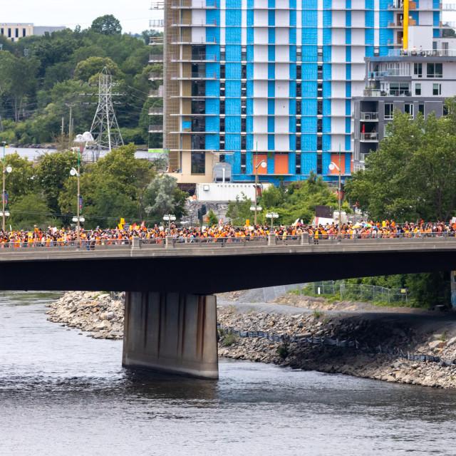 """""""Cancel Canada Day protest crosses Portage Bridge, Ottawa"""" stock image"""