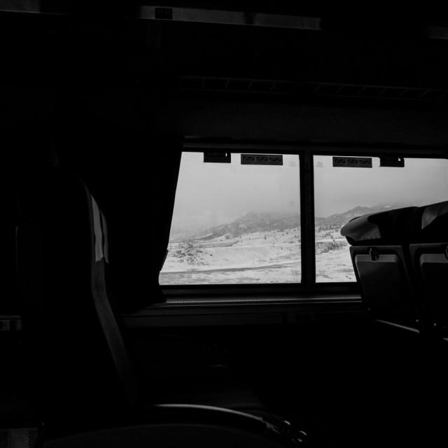 """Black and White Train Ride"" stock image"