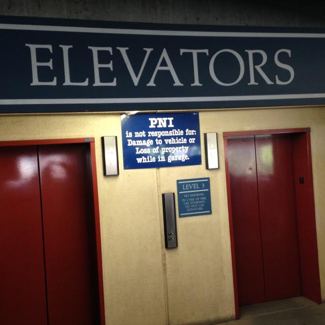 """Elevator Bank"" stock image"